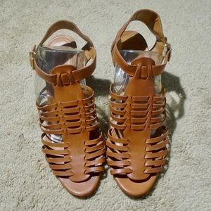 J CREW Malta Mid-Heel Leather Sandal 9.5